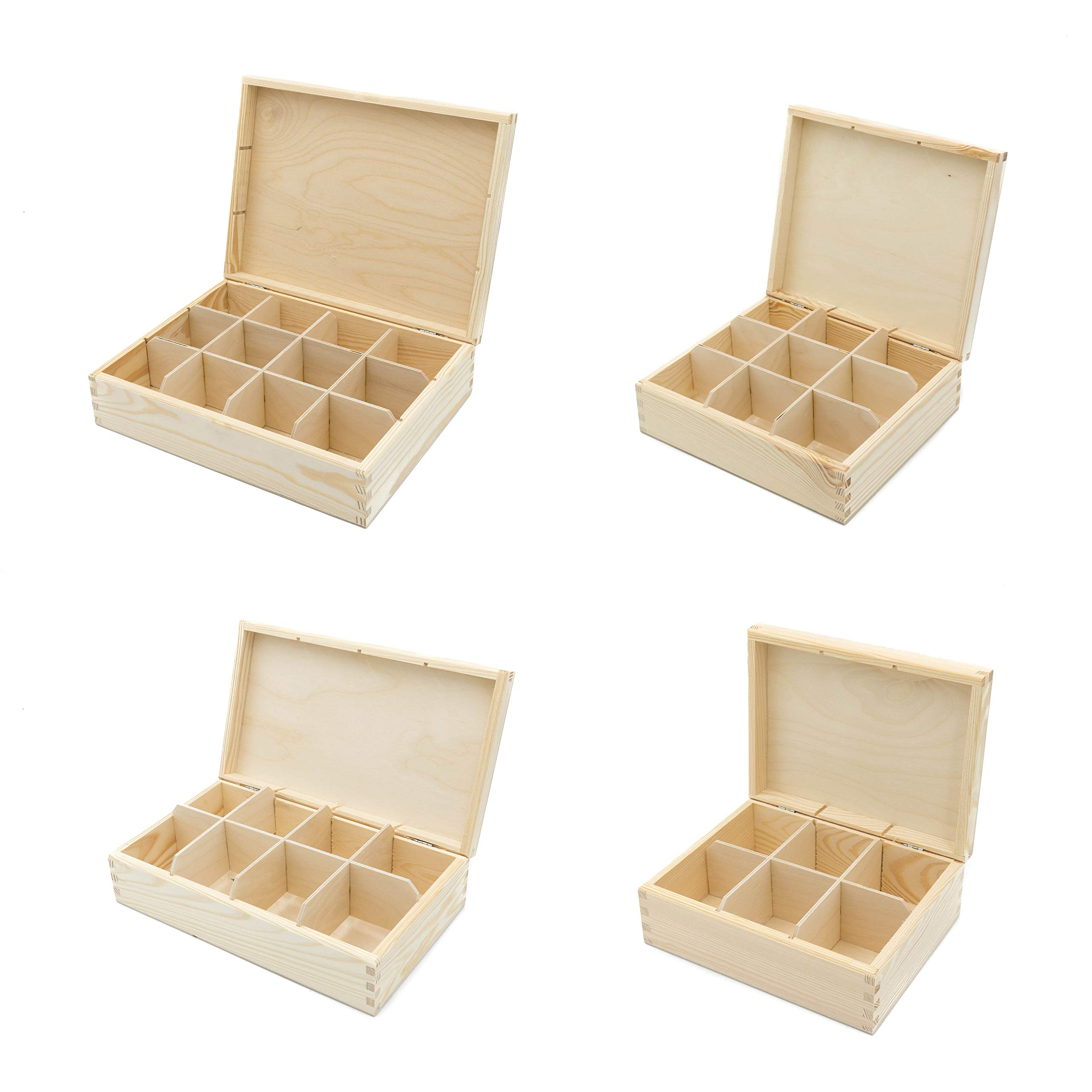 Caja de té de madera para almacenamiento – 3, 6, 8, 9,12 compartimentos (9 compartimentos): Amazon.es: Hogar