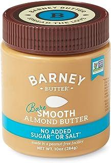 BARNEY Almond Butter, Bare Smooth, No Sugar No Salt, Paleo, KETO, Non-GMO, Skin-Free, 10 Ounce
