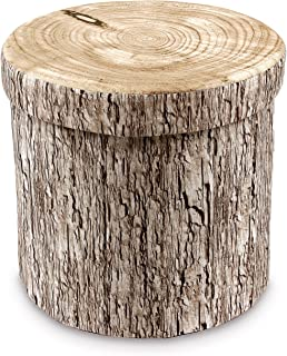 Ikee Design Tree Stump Pattern Folding Storage Ottoman - Polyester Collapsible Foot Rest Stool Coffee Table