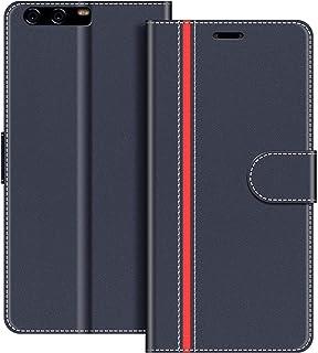 COODIO Funda Huawei P10 con Tapa, Funda Movil Huawei P10, Funda Libro Huawei P10 Carcasa Magnético Funda para Huawei P10, Azul Oscuro/Rojo