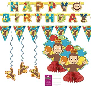 FAKKOS Design Curious George Party Decorations - Banner, Centerpieces, Hanging Decor