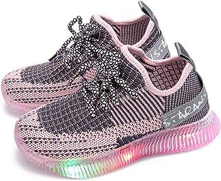 Knemksplanet Toddler Boys Girls Light Up Sneakers Shoes Lightweight Soft Mesh Knit LED Light Shoes Little Kids Baby Runnin...