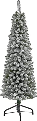 Nearly Natural 5ft. Flocked Pencil Artificial Christmas Tree with 318 Bendable Branches, White/Green, 5'