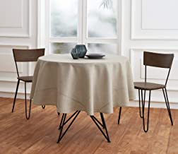 Solino Home 100% Pure Linen Round Tablecloth – 60 Inch Round – Natural