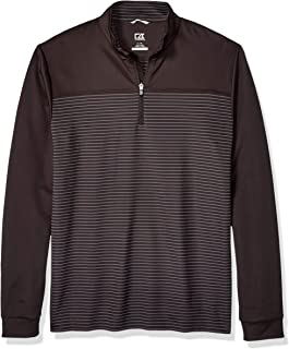 Cutter Men's Drytec UPF 50+ Double Knit Traverse Stripe Half Zip Pullover