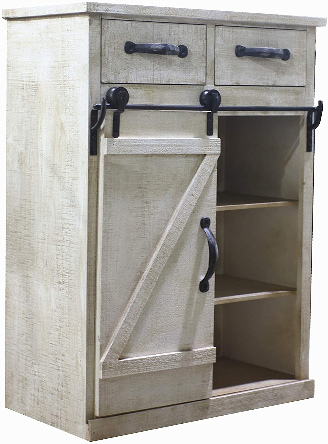 Paris Loft Rustic Omaha Mall White Disstressed Wood Storage Cabinet with Charlotte Mall Sl