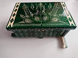 Gigante gran caja de puzzle rompecabezas de color verde, caja mágica joyero tallado en madera con decoración de tesoro de ...