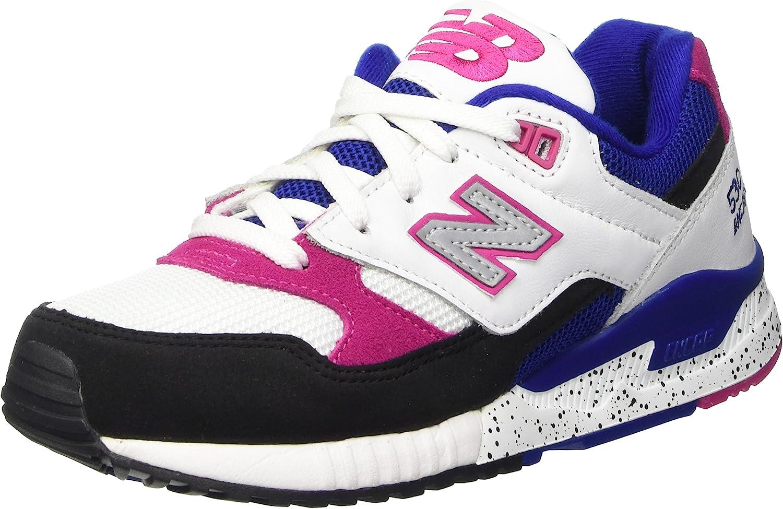 New Balance Women 530 90S Running Leather W530psa (White Black Carnival Pink)