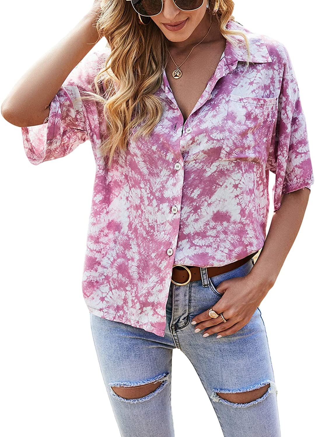 Women 's Short Sleeve Tie-dye Blouse Summer Casual Fashion Lapel Button Down Loose Single-Breasted Shirt