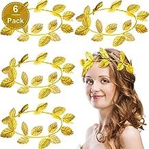 WILLBOND 6 Pieces Roman Wreath Bay Leaf Headband Gold Ring Headband Masquerade Decoration Knit Cloth Headdress Party Accessories