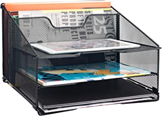 $22 » Samstar Mesh Desk File Organizer Letter Tray Holder, Desktop File Folder Holder with 3 Paper Trays and 2 Vertical Upright Section, Black.