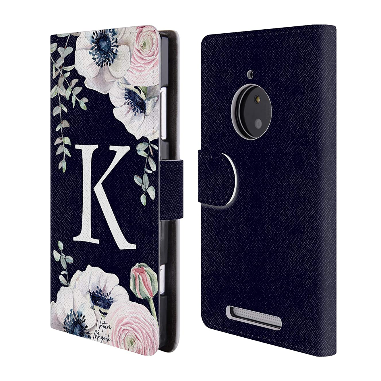 Official Nature Magick Letter K Watercolour Flower Monogram 1 Leather Book Wallet Case Cover for Nokia Lumia 830