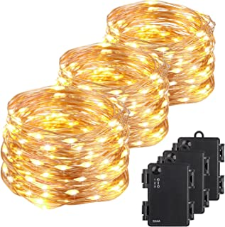 Kohree Christmas String Light Waterproof Battery Powered 100 LEDs 33ft Long Ultra Thin String Copper Wire, Decor Rope Flexible Light with Timer Perfect for Weddings, Tree, Party, Xmas 3 Packs