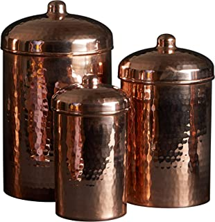 Sertodo Copper Kitchen Canister Set of 3, Includes: 2 quart, 1 quart and 2 cup sizes, Pure Copper, Hand Hammered, Heavy Gauge
