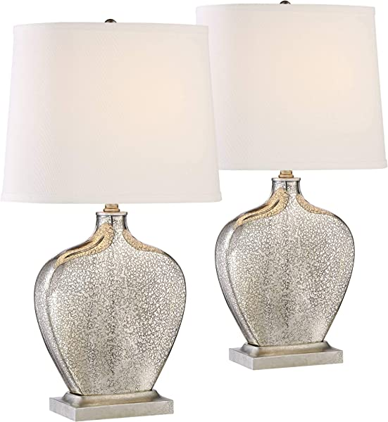 Axel Modern Table Lamps Set Of 2 Mercury Glass Gourd White Fabric Shade For Living Room Family Bedroom Bedside Office 360 Lighting