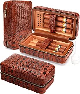 Cigar Humidor Case Cedar Wood Portable Lined Genuine Leather Case with Humidifier, Travel Humidor Crocodile Leather Case for 6 Cigars