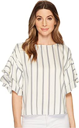 Tiered Ruffle Sleeve Stripe Theory Blouse