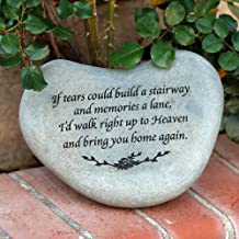 If tears Could Build a Stairway Heart Shaped Stepping Stone, Natural Soild Real River Memorial Stone, Garden Decor Stone