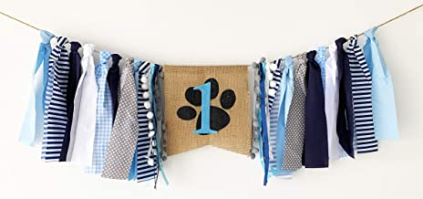 High Chair Banner Boy, Puppy 1st Birthday Highchair Banner, Blue Dog Theme 1st Bday Party Pawty Decorations for Boy¡