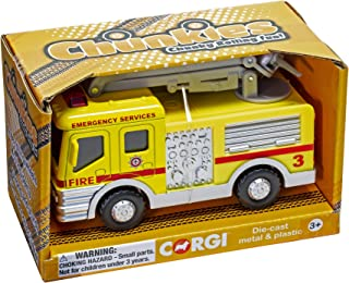 Chunkies Die Cast Airport Fire Department Engine with Crane Snorkel Truck Yellow Toy Vehicle Ages 3 & Up CH033