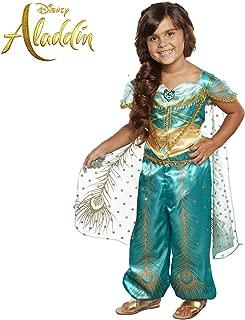 Aladdin Disney Jasmine Costume Teal & Gold Peacock Outfit, 2Piece Pants Costume