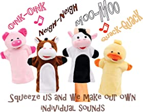 Animal House Talking Animal Hand Puppets Includes (4) Hand Puppets, Each with A Unique Animal Sound When You Squeeze | Baby Gift | Toddler Gift (Barnyard Freinds)