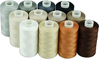 Simthread 12 Multi Colors All Purposes Cotton Quilting Thread 50s/3 Thread for Piecing Sewing etc - 550 Yards Each (Neutral Colors)