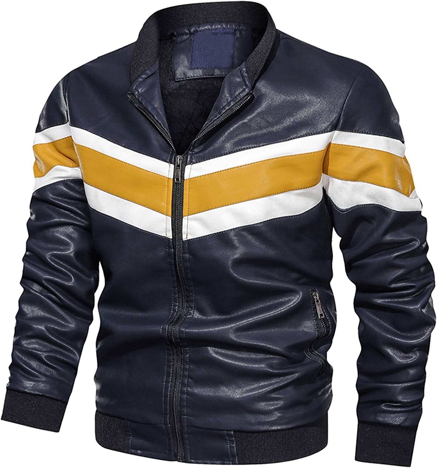 Tanming Men's Contrast Color Faux Leather Motorbike Bomber Jacket