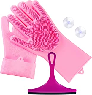 Magic Washing Gloves and Wiper 1 PAIR 13.5/6 INC Reusable Silicone Dish Scrubber Kitchen