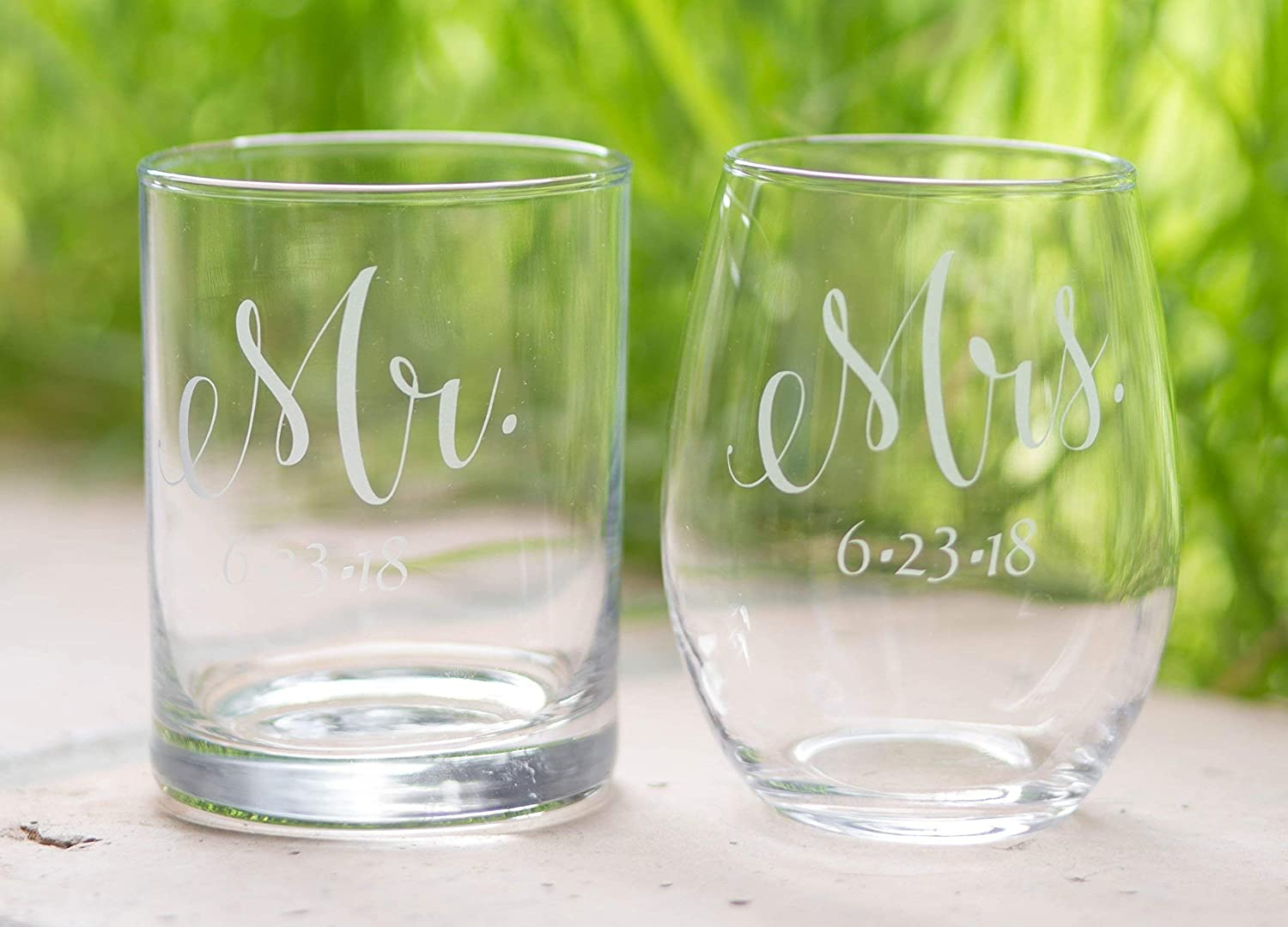 Mr. and Mrs. Glass Baltimore Mall with Wedding Date Font Nippon regular agency - Set 2 Stylish of