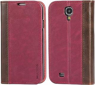 Mulbess Funda Samsung Galaxy S4 [Libro Caso Cubierta] Billetera Cuero Carcasa para Samsung Galaxy S4 Case, Vino Rojo