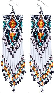 Boho Vintage Drop Thread Bead Dangle Long Tassel Fringe Earring Seed Bead Women Dangling Native American