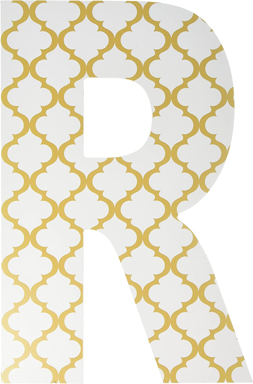 Stupell Home Décor gold and White Trellis 18 Inch Hanging Wooden Initial, 12 x 0.5 x 18, Proudly Made in USA