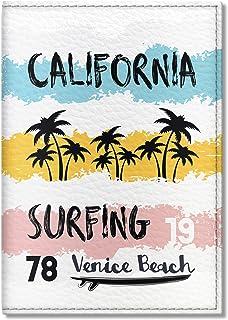 Quttie, Travel Vegan Eco Leather Passport Cover for Women, Men (California Surfing)