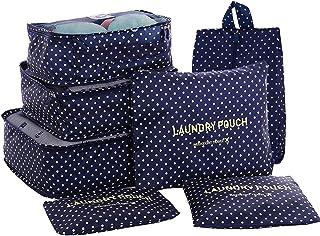 مجموعة حقيبة السفر من شركة HiDay 7، 3 مكعبات تعبئة + 3 أكياس + 1 حقيبة تنظيم أدوات الزينة، جودة ممتازة