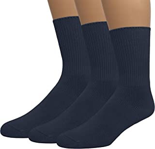 EMEM Apparel Women's Diabetic Crew Cotton Socks | Non-Binding Loose Top | Seamless Toe | 3-Pair | Plus Size Available