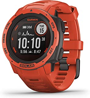 Garmin GM-010-02293-71 Instinct Solar Smartwatch, Flame Red