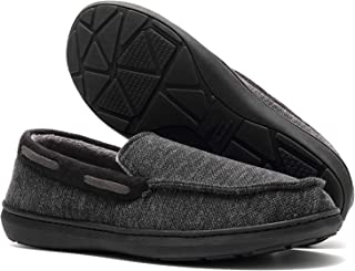 Mens Moccasin Slippers, Memory Foam Anti Slip Fleece Lined Slip On House Shoes, Warm Comfortable Indoor Outdoor Driving Loafers Shoes