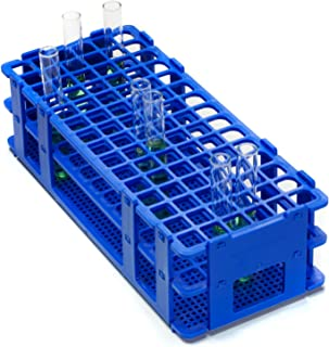 Bel-Art F18747-0000 No-Wire Test Tube Rack; 10-13mm, 90 Places, 9.7 x 4.1 x 2.5 in., Polypropylene, Blue
