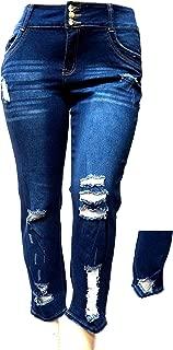 L,Square Womens Plus Size Stretch Distressed Ripped Blue Skinny Denim Jeans Pants