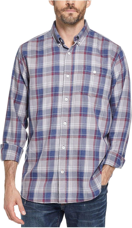 Weatherproof Mens Plaid Flannel Button-Down Shirt Blue S