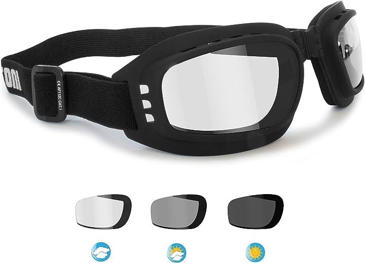 Occhiali fotocromatici da moto e sport estremi - antiappannanti - elastico regolabile - ventilati bertoni F112A