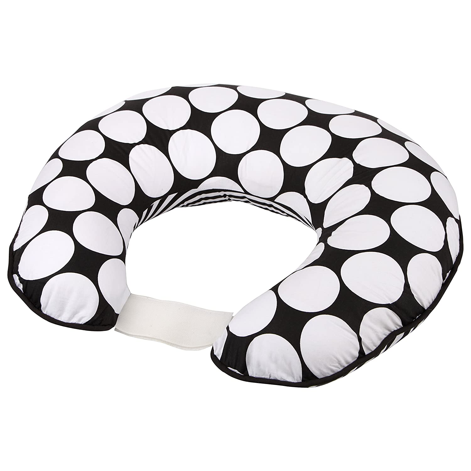 Bacati - Dots/pin Stripes Black/White Nursing Pillow Cover Only in Ultra-Soft 100% Cotton Fabric in a Fashionable Two-Sided Design