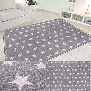 Misento Alfombra de diseño Estrellado Cielo Estrellado, Gris Claro o Gris Oscuro en 4 tamaños, Tamaño:100x150cm, Color:Hellgrau
