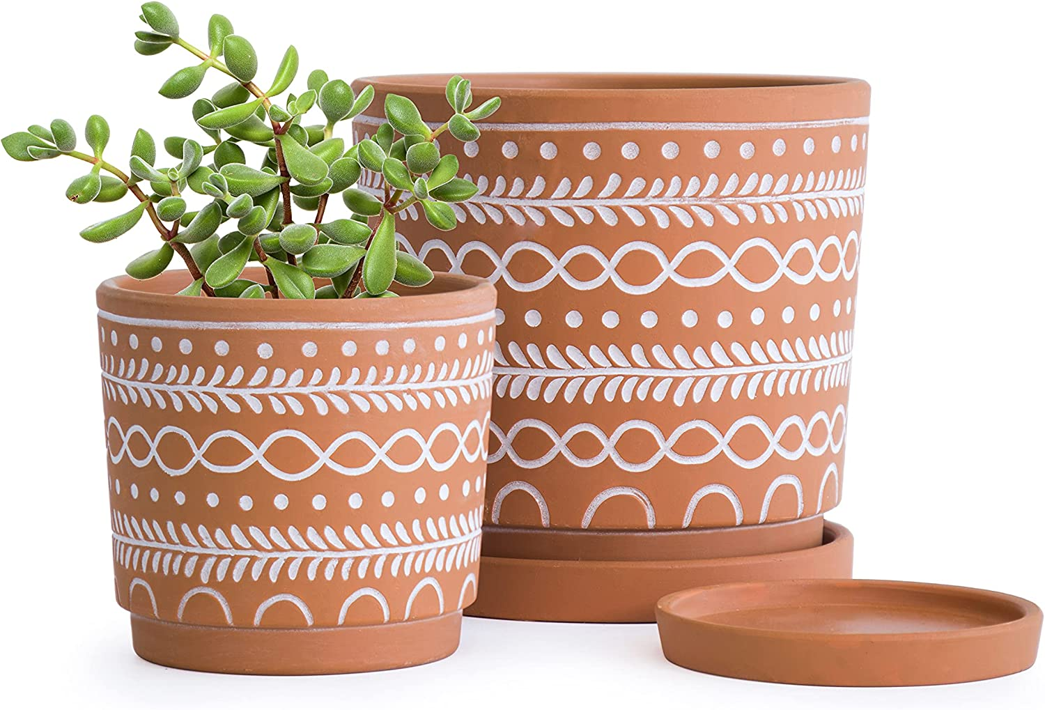 Set of 2 Ripple Indianapolis Mall Pattern Planter Fashion Pot 4.5 Inch and 6.5