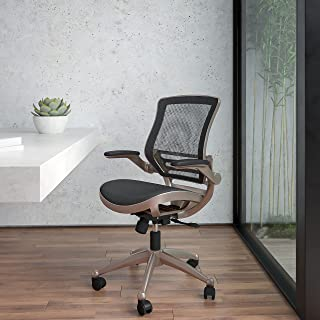 Flash Furniture Black Mid-Back Exec Chair Mesh Executive Swivels, Gold
