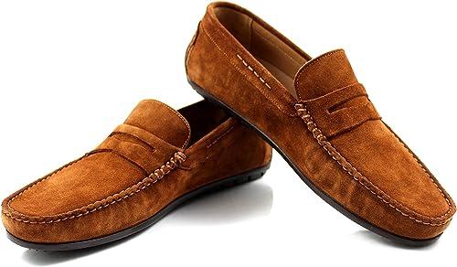 CANNERI Herren Mokassin - 7582 - Penny Loafer - Driver - College Schuh - Schlüpfschuh für Business und Freizeit aus Rauleder mit Design und Stil