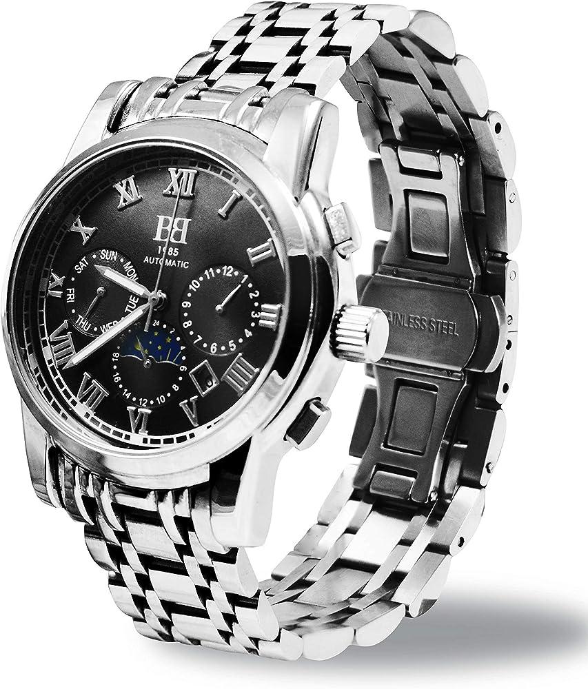 Brebor, orologio, cronografo da uomo,automatico,in acciaio inossidabile grewd-3902