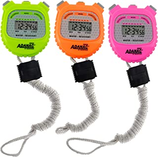 Marathon ADANAC 3000 Digital Stopwatch Timer,  Water Resistant,  Battery Included - Value Pack of