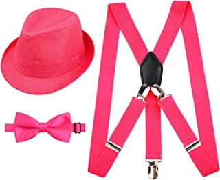 Alizeal 1 inch Suspender and Bow Tie Set with Matched Hat for Kids